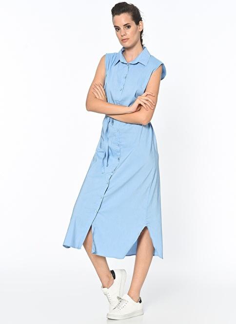 Dewberry Uzun Gömlek Elbise Mavi
